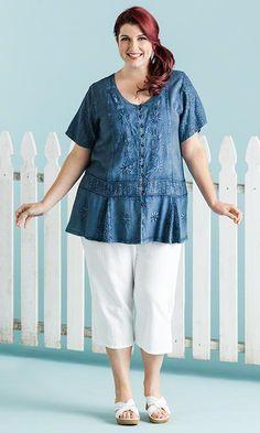 Indigo Blouse / MiB Plus Size Fashion for Women / Summer Fashion http://www.makingitbig.com/product/5223