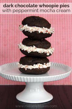 Dark Chocolate Whoopie Pies with Peppermint Mocha Cream | Melanie Makes