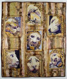 """Fiber Obsession: """"Stone Lions"""" by Jane Broaddus--Art Quilt Wall Hanging Dog Quilts, Cat Quilt, Animal Quilts, Stone Lion, Lion Art, Contemporary Quilts, Quilted Wall Hangings, Textile Art, Pet Birds"""