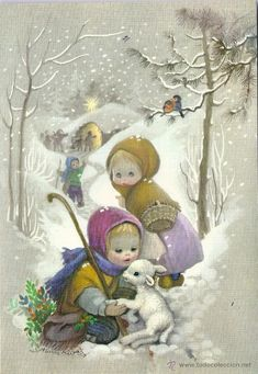 Illustrations Vintage, Art Drawings For Kids, Diy And Crafts, Nostalgia, Angeles, Mary, Christmas, Painting, Caricatures