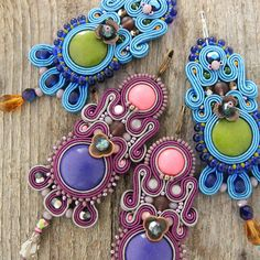 Long purple earrings dangle soutache earrings hand by pUkke