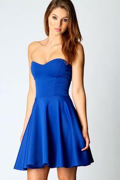 blue sweetheart mini dress