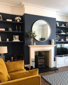 Navy Living Rooms, Living Room Colors, New Living Room, Living Room Designs, Living Room Decor, Mustard Living Rooms, Dark Blue Living Room, Small Living, Modern Living
