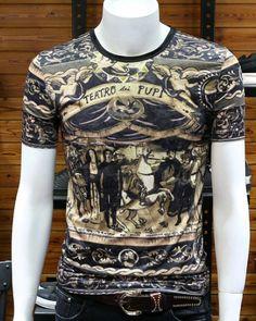 2018 summer viscose t shirt mens slim fit Baroque style print tee shirts