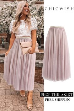 Pinker Maxi Tüllrock Casual Outfit casual party outfits for guys Mode Outfits, Skirt Outfits, Fashion Outfits, Dress Fashion, Club Outfits, Fashion Clothes, Fashion Tips, Pleated Skirt, Dress Skirt