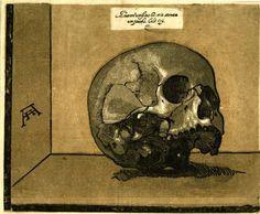 A skull (memento mori) balancing on a recessed ledge. Chiaroscuro woodcut Print by Andrea Andreani  1586-1610