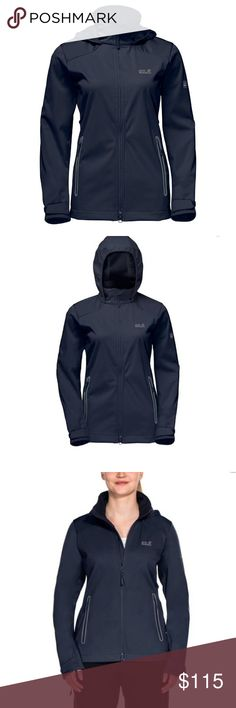 Jack Wolfskin Cusco Valley Hooded Jacket, Women's NWT - Beautiful Jack Wolfskin Women's X/S Midnight Blue soft shell hooded jacket with medium gray trim at exterior hand pockets and logo. The Flex Shield fabric is windproof, water resistant and super comfy to wear.  Stretch inserts under the arms provide ventilation and range of motion. The jacket has 2 exterior zippered hand pockets, 2 interior open mesh pockets, elastic trim to keep the hood snug when needed, and Velcro at the cuffs.  The…