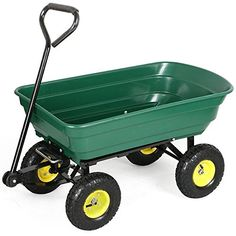 go2buy Garden Poly Dump Cart Dumper Wagon Carrier Wheelbarrel with Steel Frame and 10 Pneumatic Tires with a Capacity of 650 lb Green ** Check out this great product.