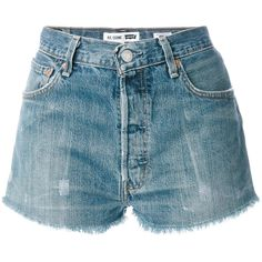 Re/Done denim shorts (965 BRL) ❤ liked on Polyvore featuring shorts, blue, blue denim shorts, denim short shorts, blue shorts, jean shorts and blue jean short shorts