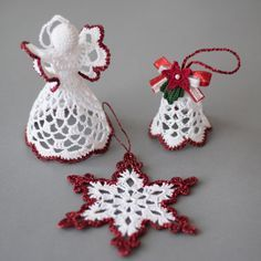 Gorgeous christmas set of 3 crocheted ornaments it is available in gold silver red and green colors of edging a must have for every home at christmas handmade christmas ornaments made with high quality cotton thread and lame thread in a smoke free and pet Crochet Christmas Decorations, Crochet Decoration, Crochet Ornaments, Christmas Crafts For Gifts, Christmas Bells, Xmas Ornaments, How To Make Ornaments, Crochet Crafts, Handmade Christmas