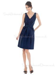Natural Sleeveless Knee-length V-neck A-line Bridesmaid Dress