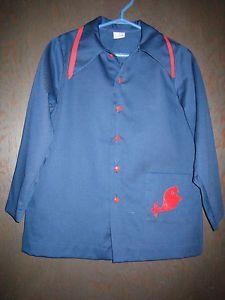 KBL13 Girls Boys Unisex Vintage Cotton Red Blue Painters Smock Size 8 | eBay