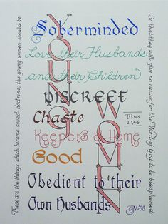 Young Women Titus 2 Calligraphy print by OurPrettystuff on Etsy. Titus 2:1,4-5