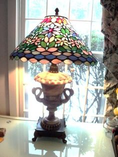 Antique Stained Glass Lamp Alabaster Base | eBay