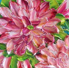 Oil painting-Original deep pink dahlia  Jan Ironside