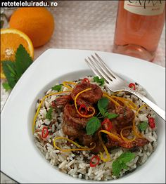 Chocolate sauce & rice prawns
