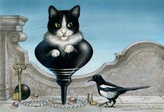 Matoupie - Magpie Cat -  by Severine Pineaux. Pastels et aquarelle sur art board.