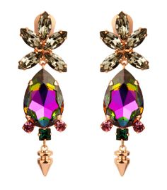 How to Wear #Pantone Radiant Orchid — Bruno Magli Mawi Drop Crystal Earrings #ShopBAZAAR