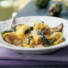 Vegetarian Pasta Dishes | Pappardelle with Lemon, Baby Artichokes, and Asparagus | MyRecipes