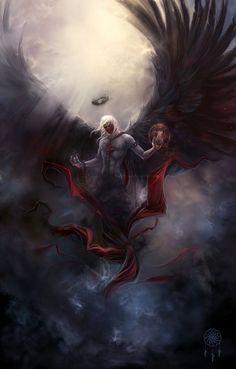 Light And Dark Art Fantasy Deviantart Ideas Dark Fantasy Art, Fantasy Artwork, Fantasy World, Dark Artwork, Dark Angels, Angels And Demons, Fallen Angels, Fantasy Wesen, Angel Warrior