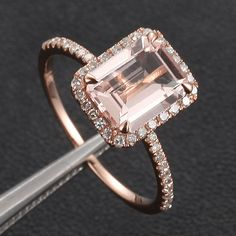 CLAW PRONGS Solid 14K Rose Gold Emerald Morganite door ThisIsLOGR, $365.00
