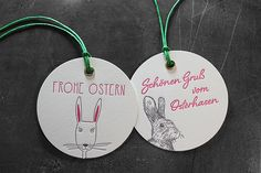 Letterpress-Anhänger fürs Osternest von SCHÖNDRUCK Letterpress in Wien. Letterpress, Washer Necklace, Jewelry, The Originals, Happy Easter, Visit Cards, Easter Bunny, Invitations, Nice Asses