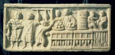 Market scene, relief, Roman, 2nd century (stone), . / Museo Ostiense, Ostia Antica, Rome, Italy / Roger-Viollet, Paris / The Bridgeman Art Library (bread butcher food fruit greengrocer monkey rabbit selling stall trade)