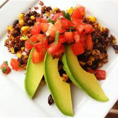 "Quinoa and Black Bean Bliss | ""This simple dish is a mixture of quinoa, fresh corn, and black beans topped with fresh salsa and avocado."""