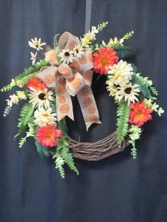 Fall Wreath, Fall Color Wreath, Fall Door Wreath, Entry Wreath, Orange Wreath, Front Door Wreath, Porch Wreath, Wall Decor, Fall Grapevine - pinned by pin4etsy.com