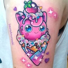 This is not happening but I think it's adorable it's a Jiggly Puff Pokemon ice cream.