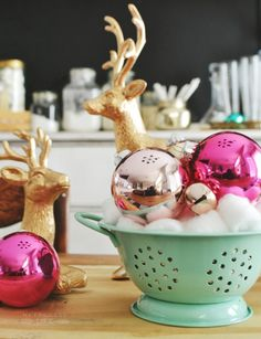 Christmas Home Tour | MyFabulessLife.com - love the cotton balls as filler for ornaments!