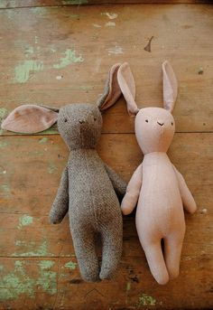 Rabbit soft toy / grey flannel bunny doll by by willowynn on Etsy