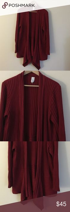 """Jones of New York 1X red open cardigan Classic and sophisticated Jones of New York red open flyaway cardigan with draped collar. Sweater features ribs pattern contrasting ribbing on bottom and beautiful draping on collar edge. Dimensions taken while garment is laying flat: sleeve length 24"""", length from shoulder to bottom hem 26"""", length across shoulders 18"""". Jones New York Sweaters Cardigans"""