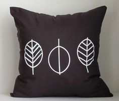 Decorative Pillow Cover  Hand Printed Leaves by AnyarwotDesigns, $20.00