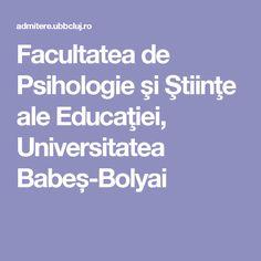 Facultatea de Psihologie şi Ştiinţe ale Educaţiei, Universitatea Babeș-Bolyai