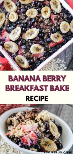 Banana berry breakfast bake is a delicious make ahead oatmeal bake that makes morning meals a breeze. This sweet breakfast will get your day started off right! #breakfast #breakfastbake #recipe