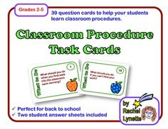 Classroom Procedure Task Cards! Each of these 39 cards features a different classroom procedure such as what to do when you don't know how to spell a word or when you are feeling sick. Use at the start of the year to help your students learn you procedures and be more independent. $