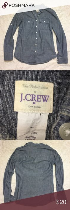 J. crew chambray button up X-small | j. Crew | 100% cotton | chambray | button up with button roll up sleeves | good condition J. Crew Tops Button Down Shirts