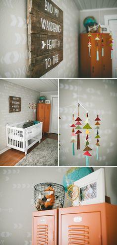 boy nursery, gray nursery, triangle mobile, DIY wood plank art