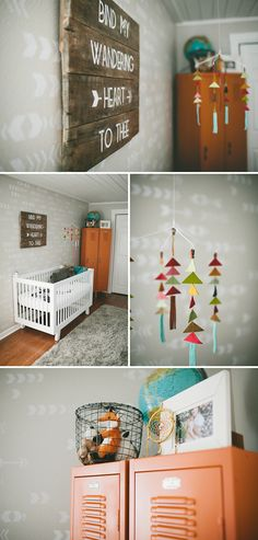 boy nursery, gray nursery, triangle mobile, DIY wood plank art