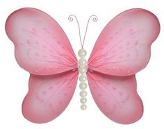 """10"""" Medium Pink Pearl Butterfly Decorations - butterflies hanging nylon nursery bedroom girls room ceiling wall decor, wedding birthday party baby bridal shower by Bugs-n-Blooms, http://www.amazon.com/dp/B003I7AZIE/ref=cm_sw_r_pi_dp_cUkdqb1MJ558Z"""
