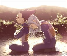 DBZ vegeta and trunks. This is really cute if you watch dbz but trunks looks like a girl. Vegeta Y Trunks, Dragon Ball Z Shirt, Goku And Vegeta, Z Arts, Kawaii, Father And Son, Anime Comics, Wallpaper, Illustration