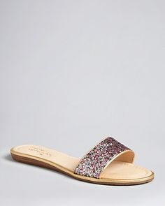 kate spade new york Glitter Flat Sandals - Tulip | Bloomingdale's