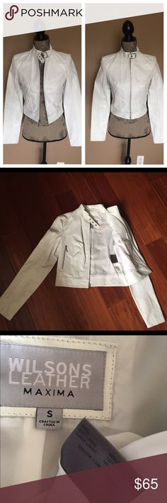"White Leather Jacket Worn once for a couple of hours. Like new. Cropped. Silver zippers . Genuine leather. Looks great with jeans or layered over a dress. Chest size 34"" length 19"" sleeves 24"".  PRICE IS FIRM, you can bundle for a discount. Wilsons Leather Jackets & Coats"