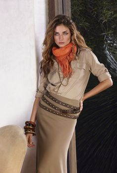 Ralph Lauren Blue Label Spring 2012 - tan top, beige skirt, brown belt, and an orange scarf. I have all of these pieces!
