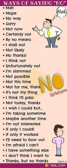 NO Synonym! List of many different Ways to Say NO in English with ESL pictures. Learn these useful synonyms for NO to increase your English vocabulary and improve your communication skill. English Vocabulary Words, Learn English Words, English Phrases, Learn English Speaking, English Grammar Rules, Grammar Lessons, Slang English, Learn English Grammar, English Quotes