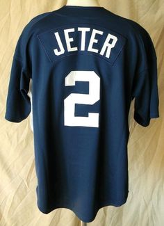 Derek Jeter New York Yankees Navy Large Baseball Nike Jersey Embroidered #Nike #NewYorkYankees