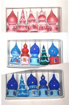 Christmas Ornaments * 5 churches set * 3 in * Russian Hand made, Wood carved * Hand painted * orn.NA-19 Made in russia wtg1977 Worldwide shipment from Russia