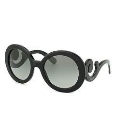 Prada Prada PR 27NS 1AB3M1 Shiny Black Round Plastic Minimal-Baroque Edition Fashion Sunglasses | BLUEFLY up to 70% off designer brands