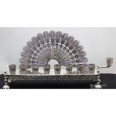 Silver Menorah - Filigree Fan Peacock